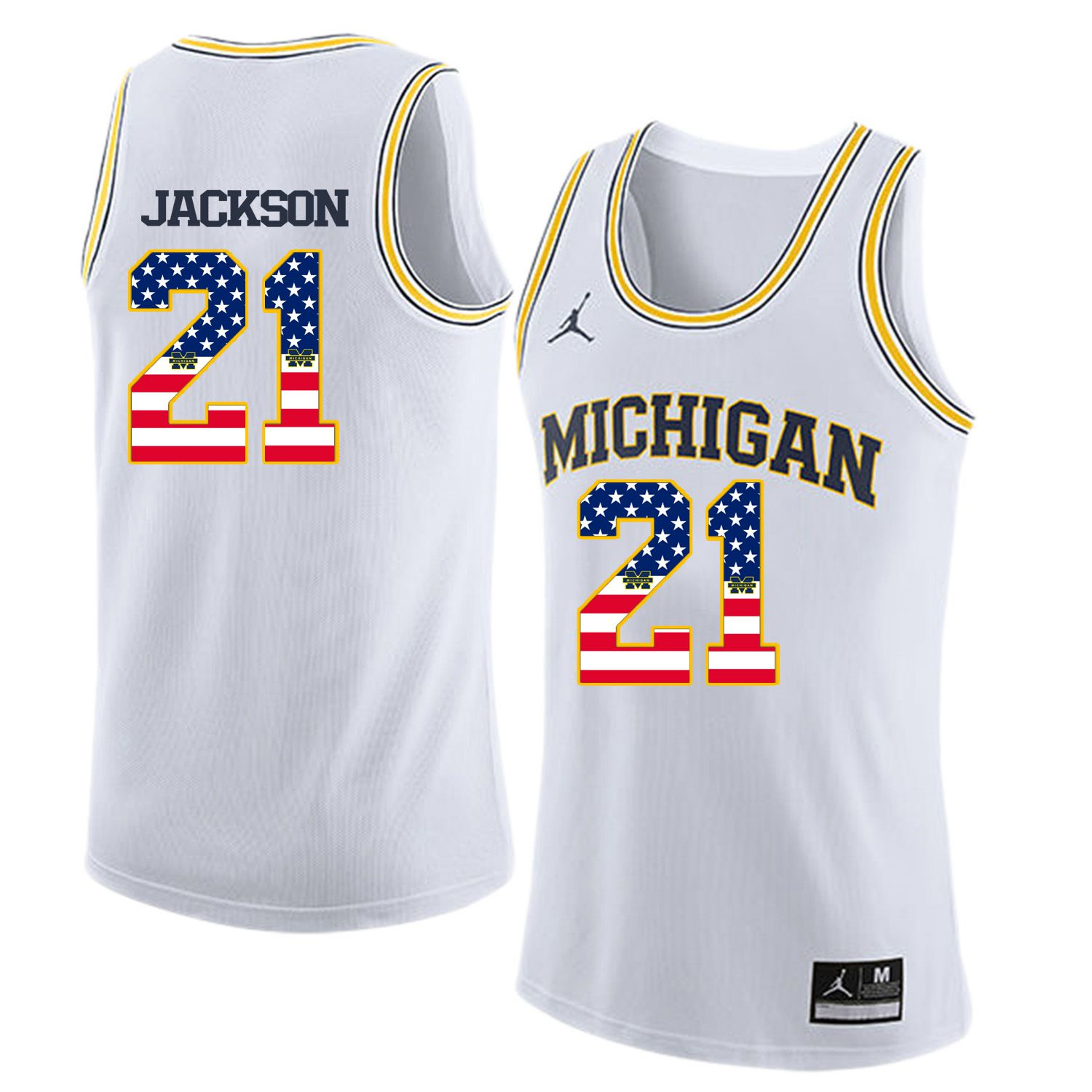 Men Jordan University of Michigan Basketball White 21 Jackson Flag Customized NCAA Jerseys