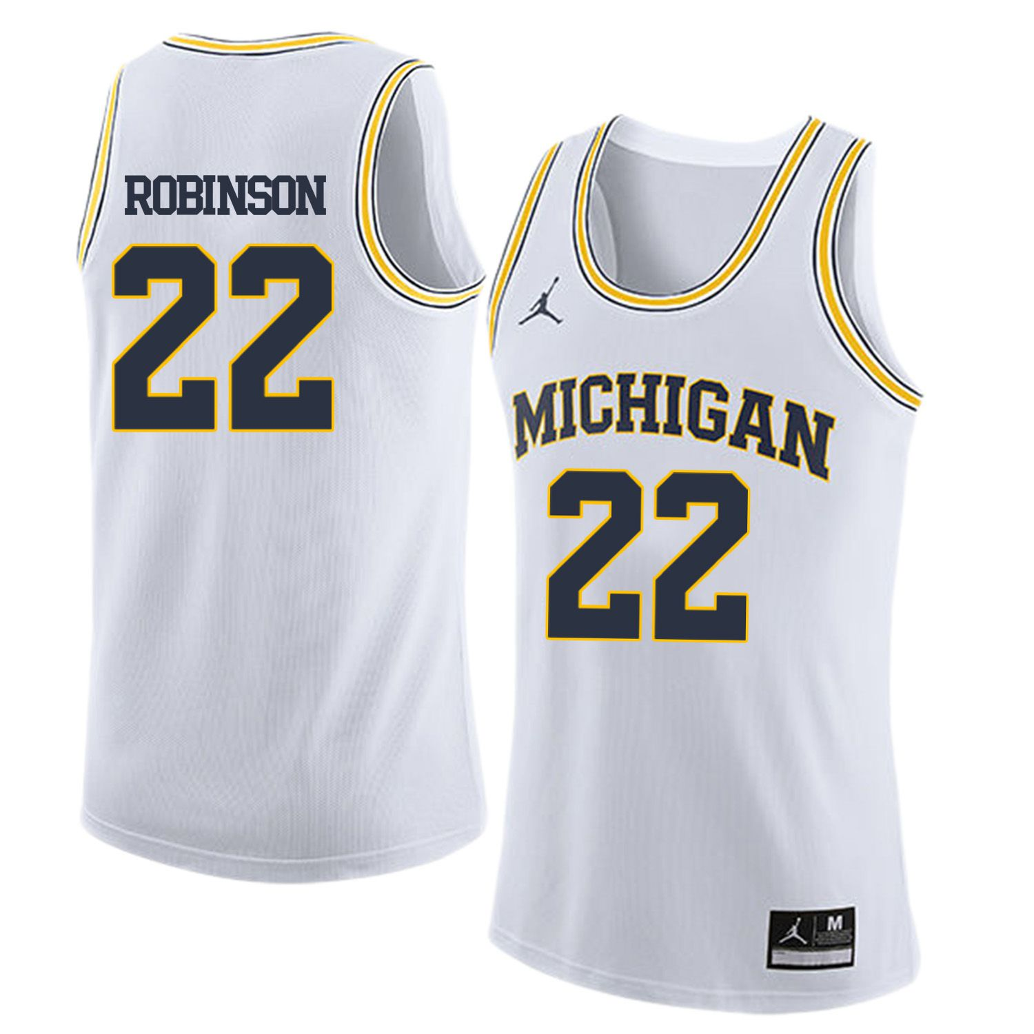 Men Jordan University of Michigan Basketball White 22 Robinson Customized NCAA Jerseys