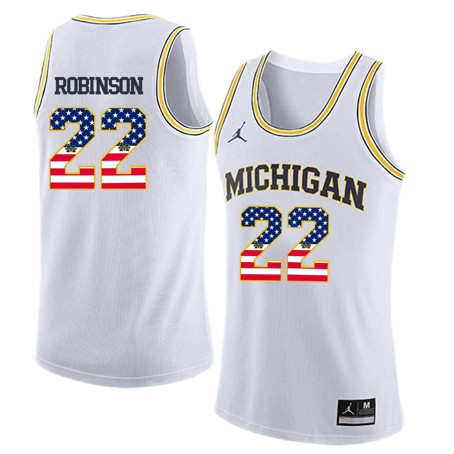 Men Jordan University of Michigan Basketball White 22 Robinson Flag Customized NCAA Jerseys