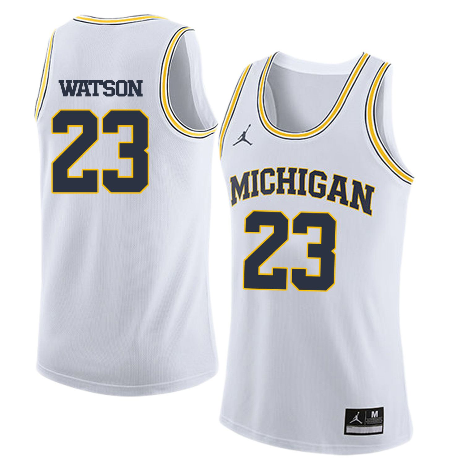 Men Jordan University of Michigan Basketball White 23 Watson Customized NCAA Jerseys