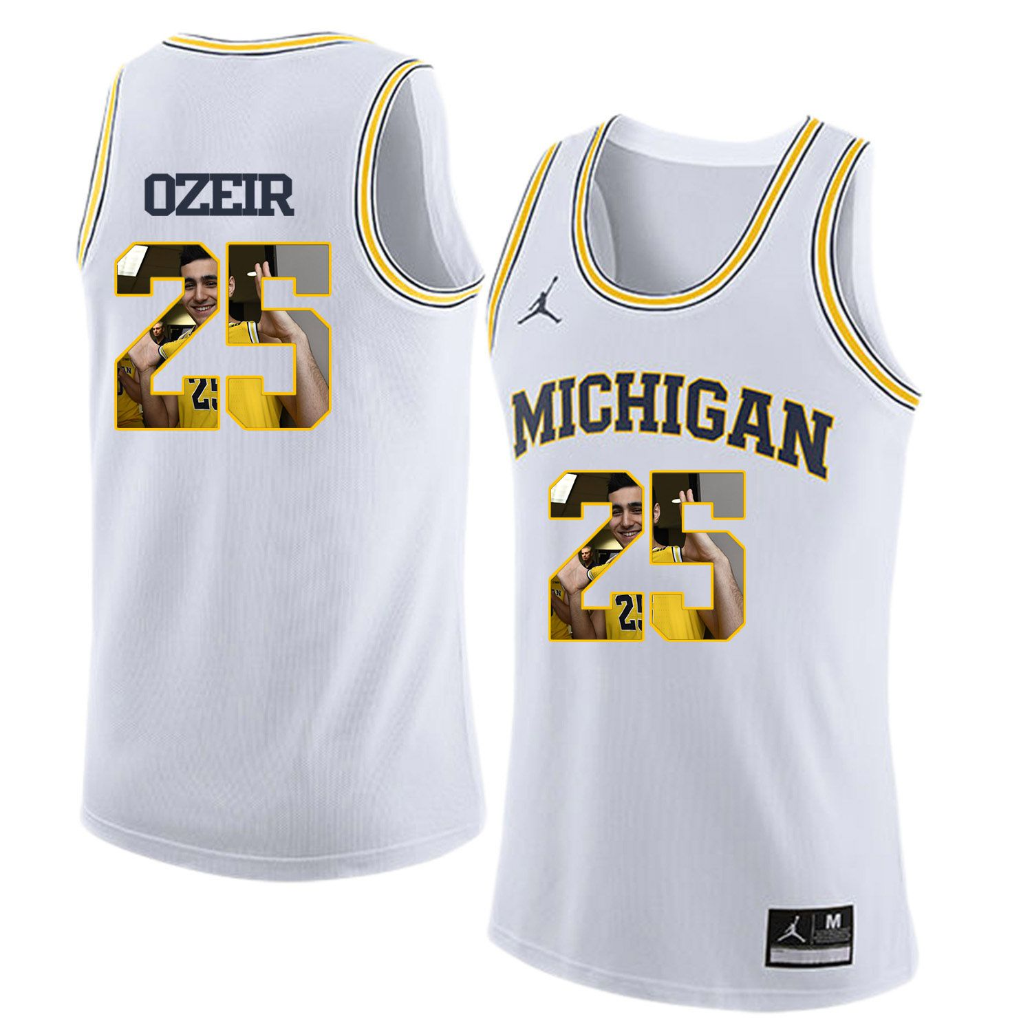Men Jordan University of Michigan Basketball White 25 Ozeir Fashion Edition Customized NCAA Jerseys
