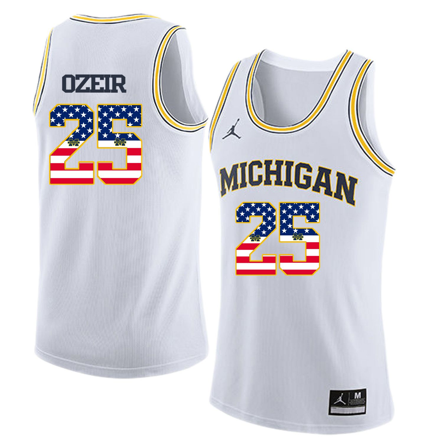 Men Jordan University of Michigan Basketball White 25 Ozeir Flag Customized NCAA Jerseys