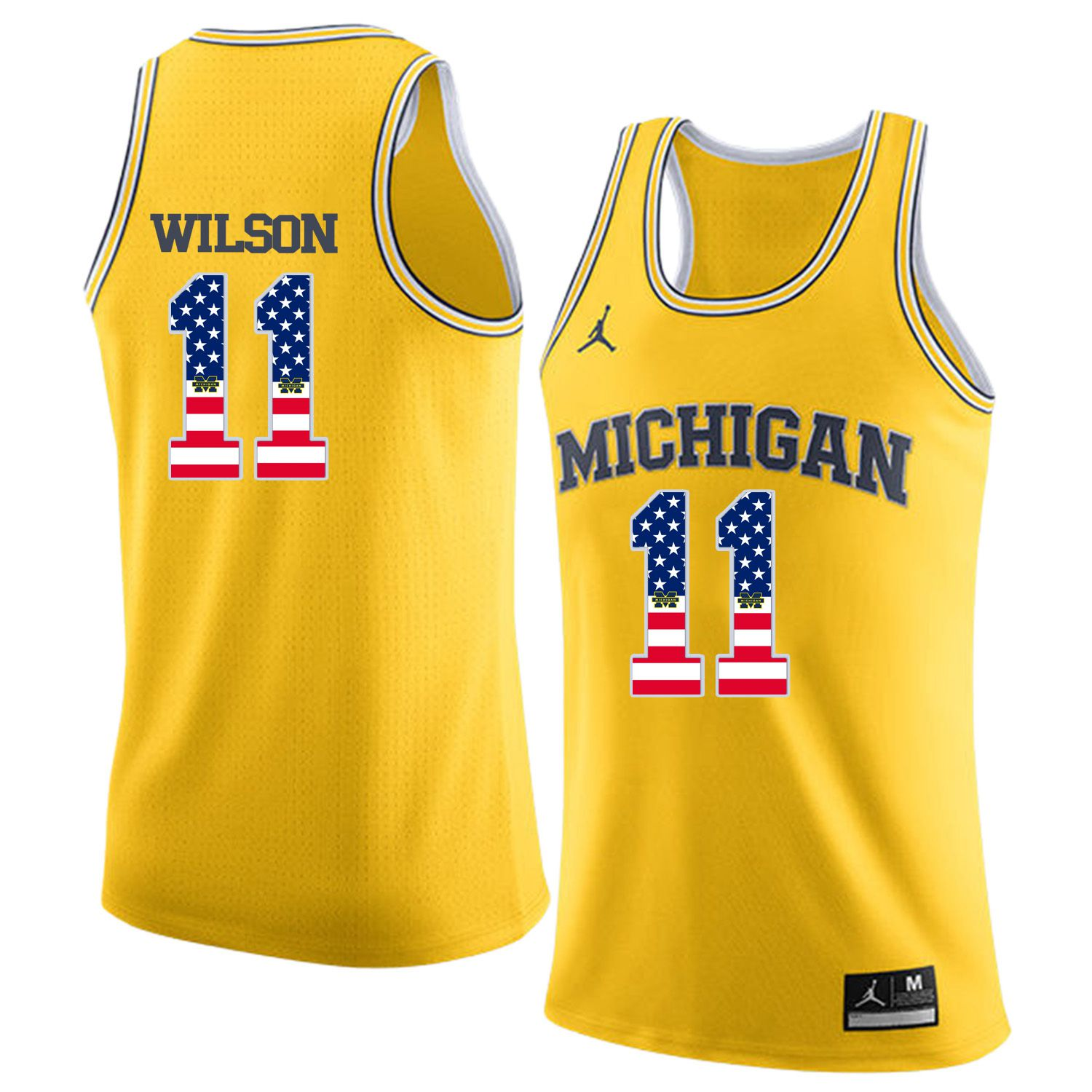 Men Jordan University of Michigan Basketball Yellow 11 Wilson Flag Customized NCAA Jerseys