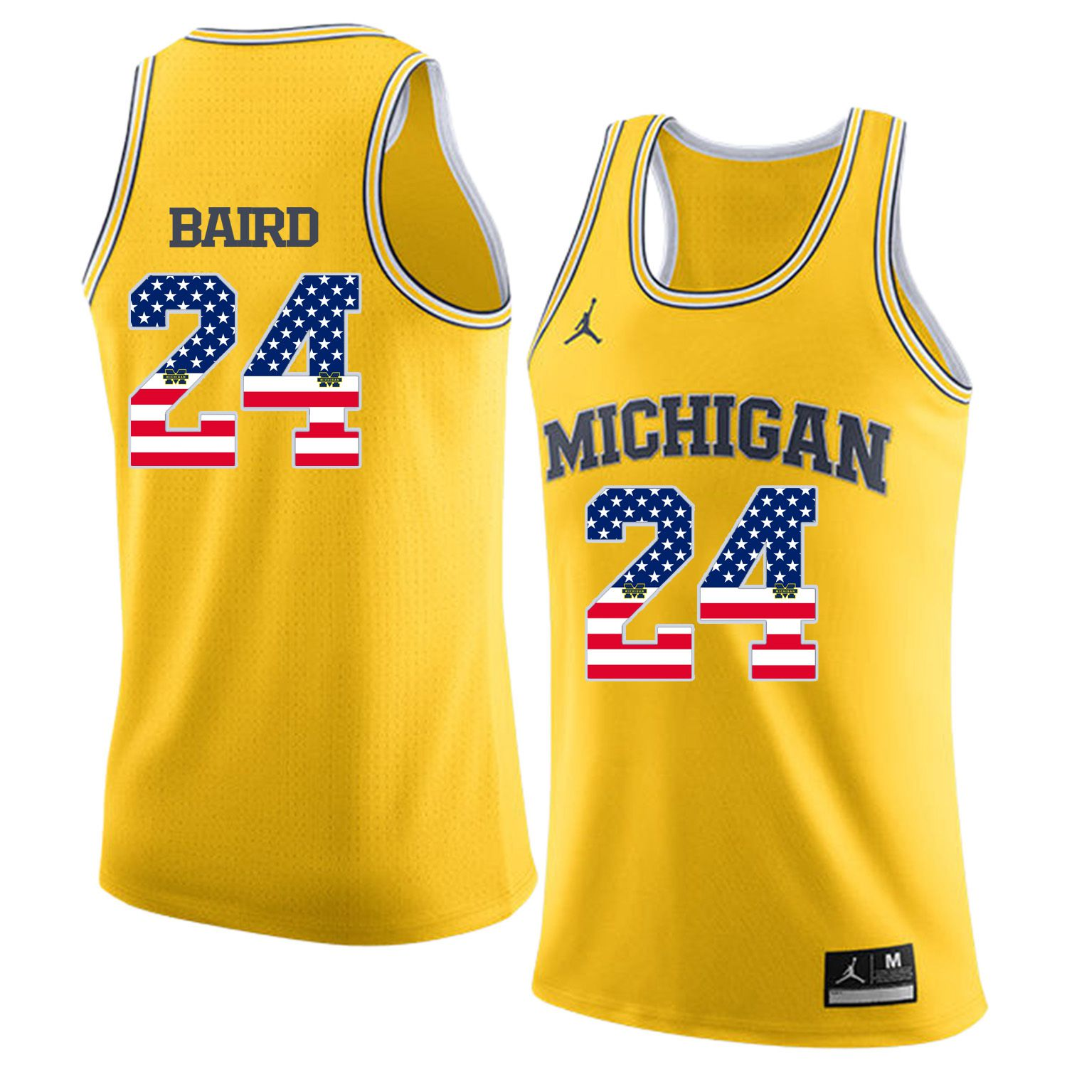 Men Jordan University of Michigan Basketball Yellow 24 Baird Flag Customized NCAA Jerseys