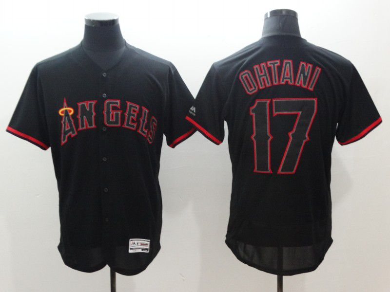 Men Los Angeles Angels 17 Ohtani Black Elite MLB Jerseys