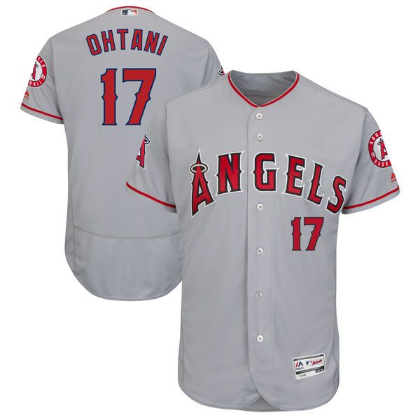 Men Los Angeles Angels 17 Ohtani Grey Elite MLB Jerseys