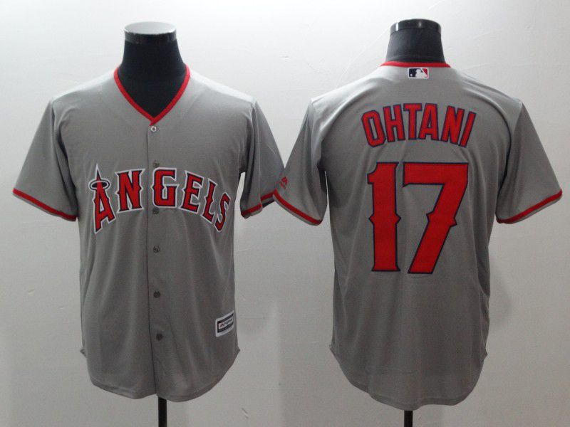 Men Los Angeles Angels 17 Ohtani Grey Game MLB Jerseys