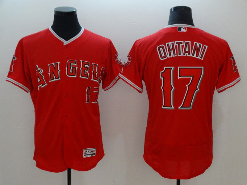 Men Los Angeles Angels 17 Ohtani Red Elite MLB Jerseys