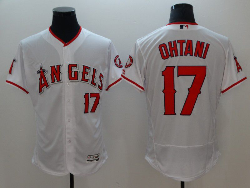 Men Los Angeles Angels 17 Ohtani White Elite MLB Jerseys