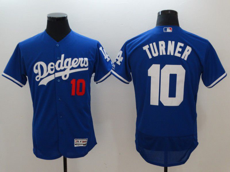 Men Los Angeles Dodgers 10 Turner Blue Elite MLB Jerseys