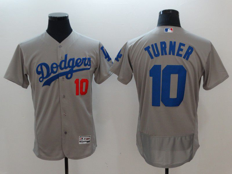 Men Los Angeles Dodgers 10 Turner Grey Elite MLB Jerseys
