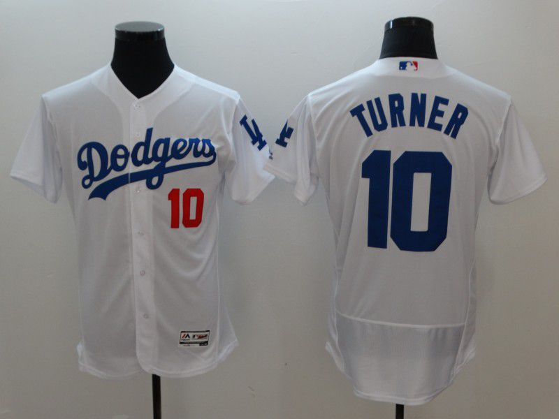 Men Los Angeles Dodgers 10 Turner White MLB Jerseys