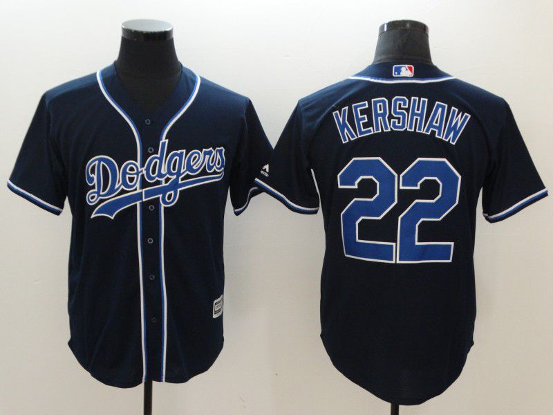 Men Los Angeles Dodgers 22 Kershaw Black Game MLB Jerseys