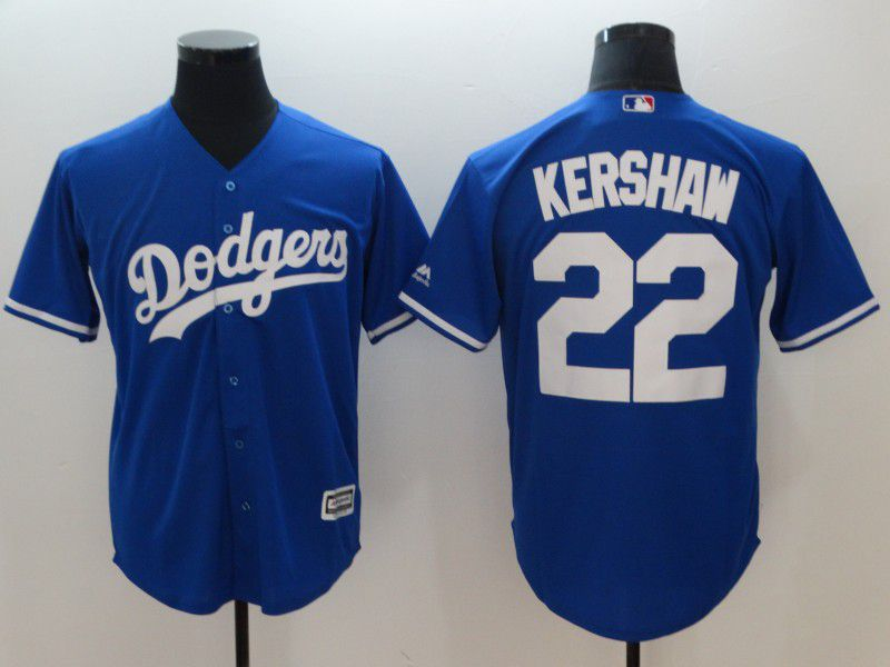Men Los Angeles Dodgers 22 Kershaw Blue Game MLB Jerseys