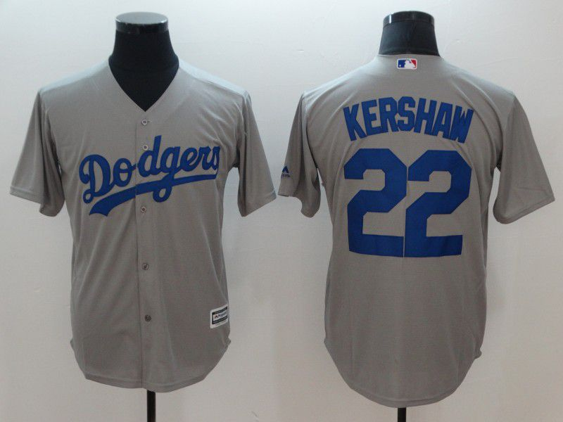 Men Los Angeles Dodgers 22 Kershaw Grey Game MLB Jerseys