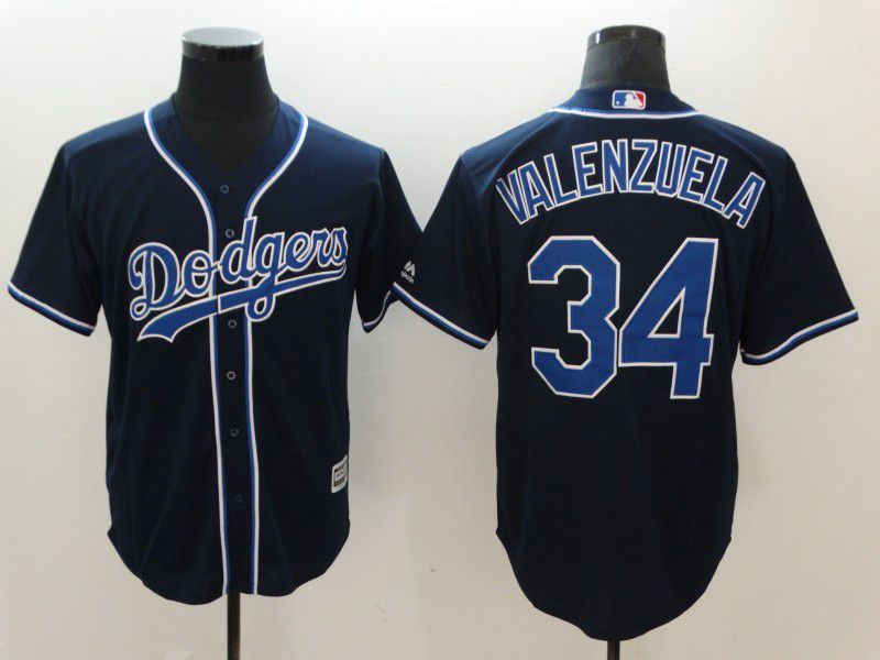 Men Los Angeles Dodgers 34 Valenzuela Black Game MLB Jerseys