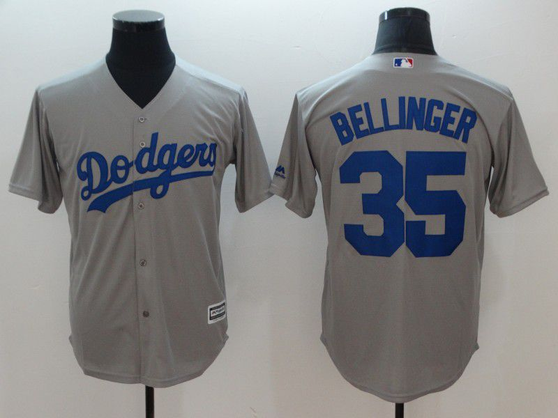 Men Los Angeles Dodgers 35 Bellinger Grey Game MLB Jerseys