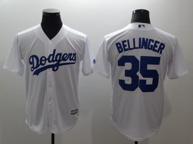 Men Los Angeles Dodgers 35 Bellinger White Game MLB Jerseys