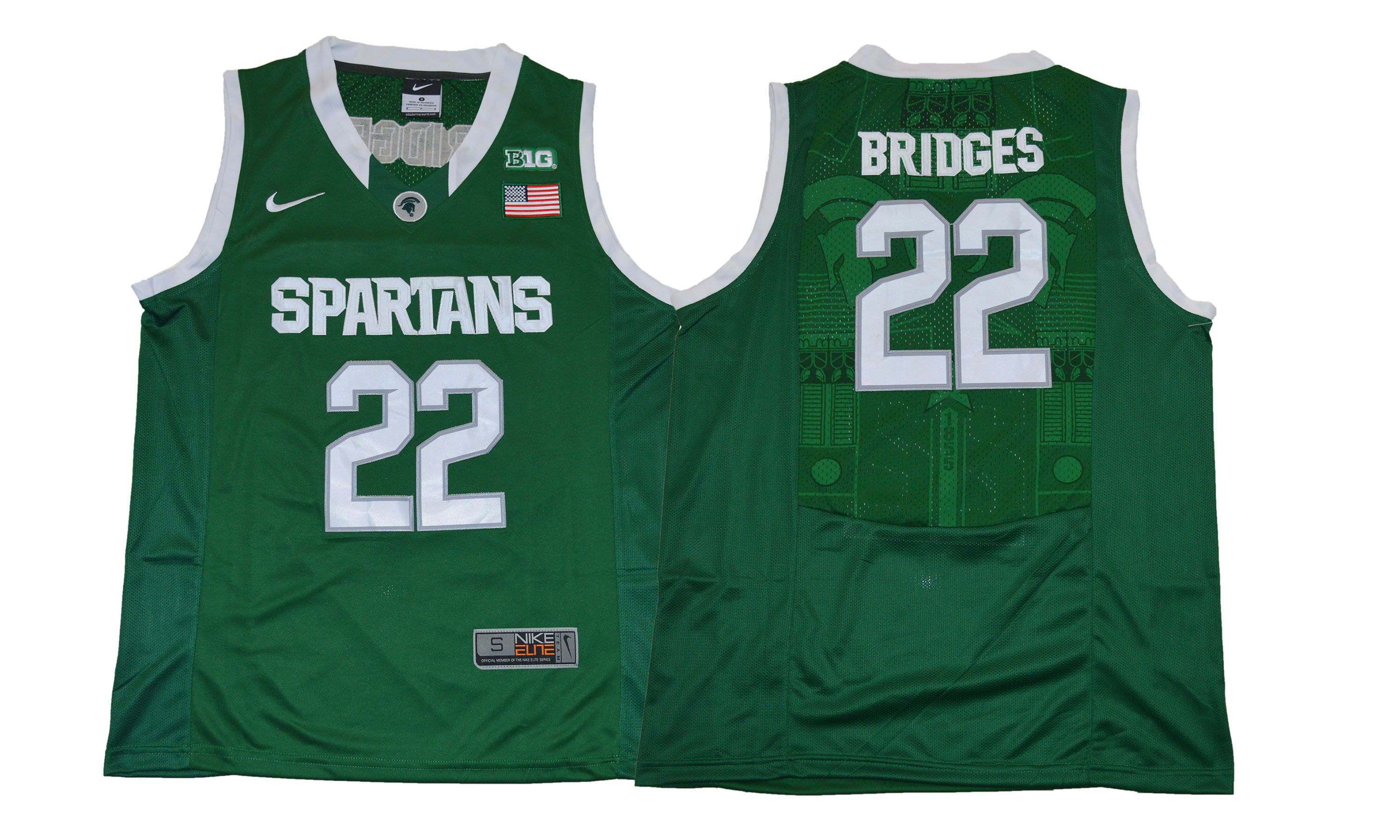 Men Michigan State Spartans 22 Bridges Green Nike NCAA Jerseys