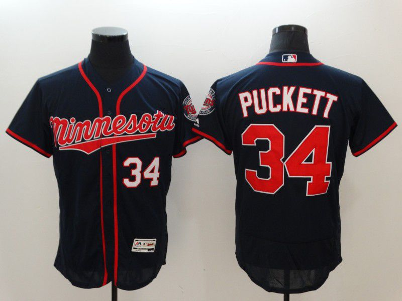 Men Minnesota Twins 34 Puckett Blue Elite MLB Jerseys