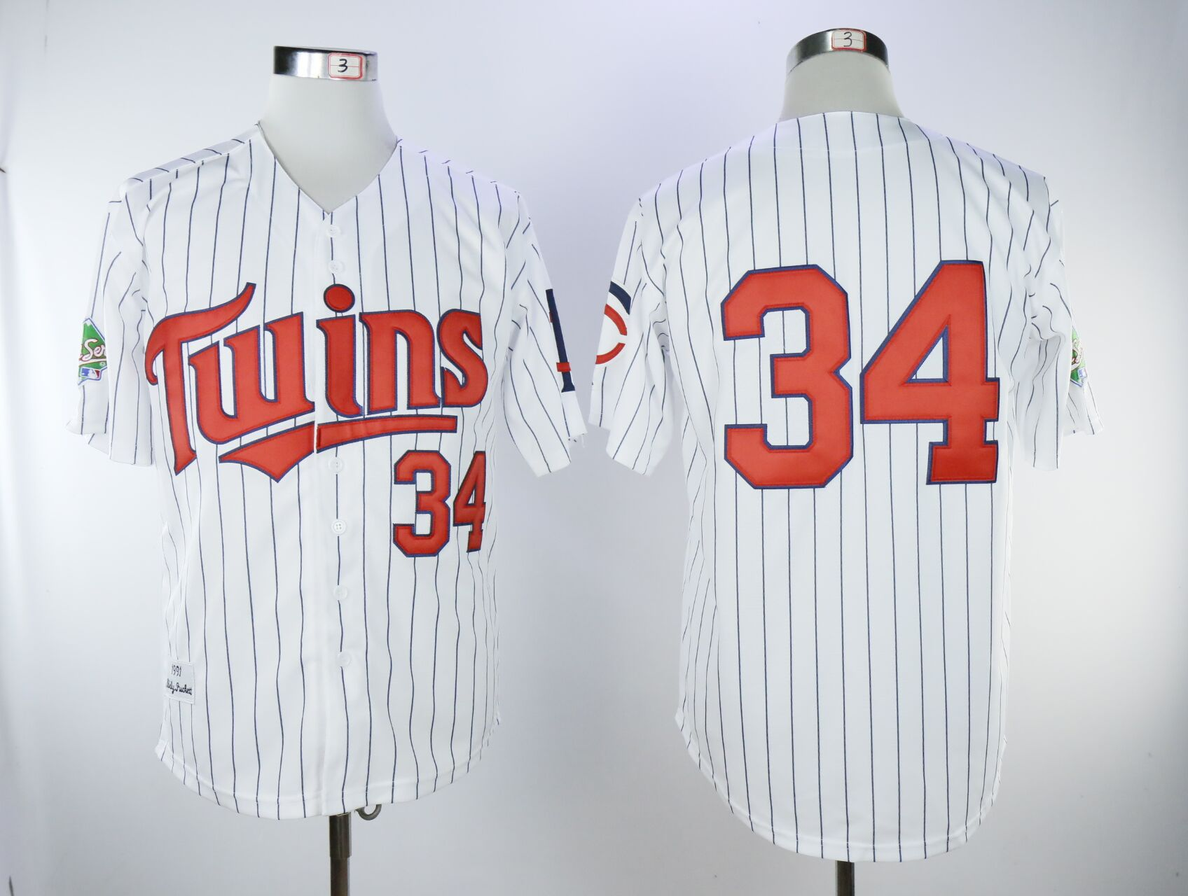 Men Minnesota Twins 34 Puckett White Throwback MLB Jerseys