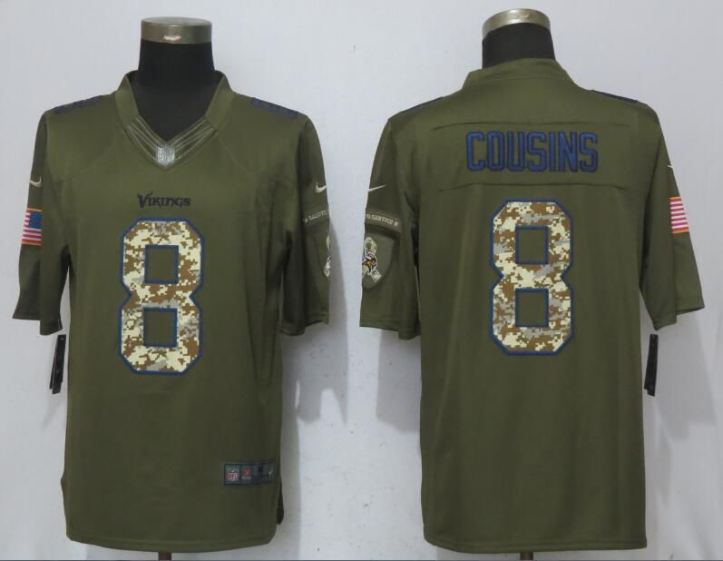 Men Minnesota Vikings 8 Cousins Green Salute To Service New Nike Limited NFL Jerseys