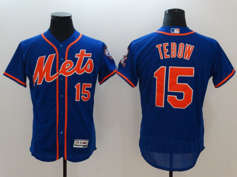 Men New York Mets 15 Tebow Blue Elite MLB Jerseys