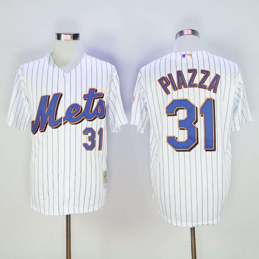 Men New York Mets 31 Piazza White Throwback MLB Jerseys