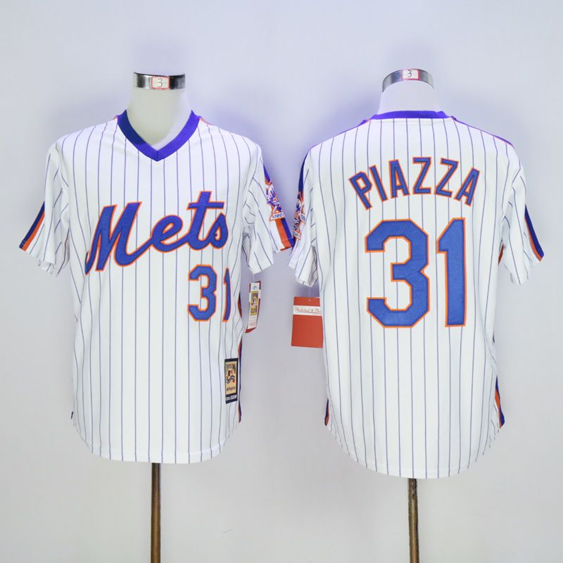 Men New York Mets 31 Piazza White Throwback MLB Jerseys1