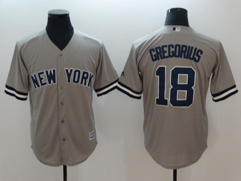 Men New York Yankees 18 Gregorius Grey Game MLB Jerseys