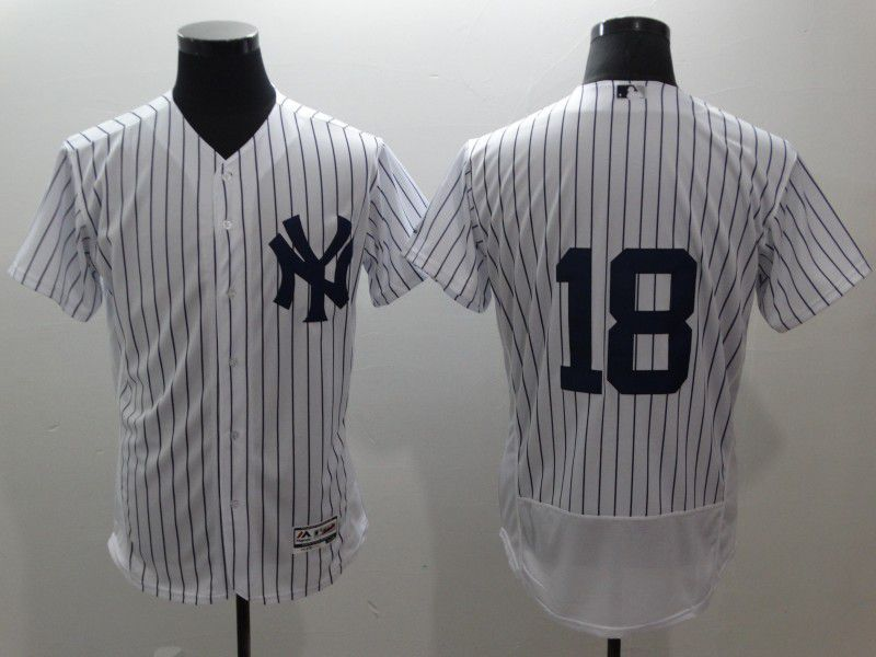 Men New York Yankees 18 Gregorius White stripes Elite MLB Jerseys