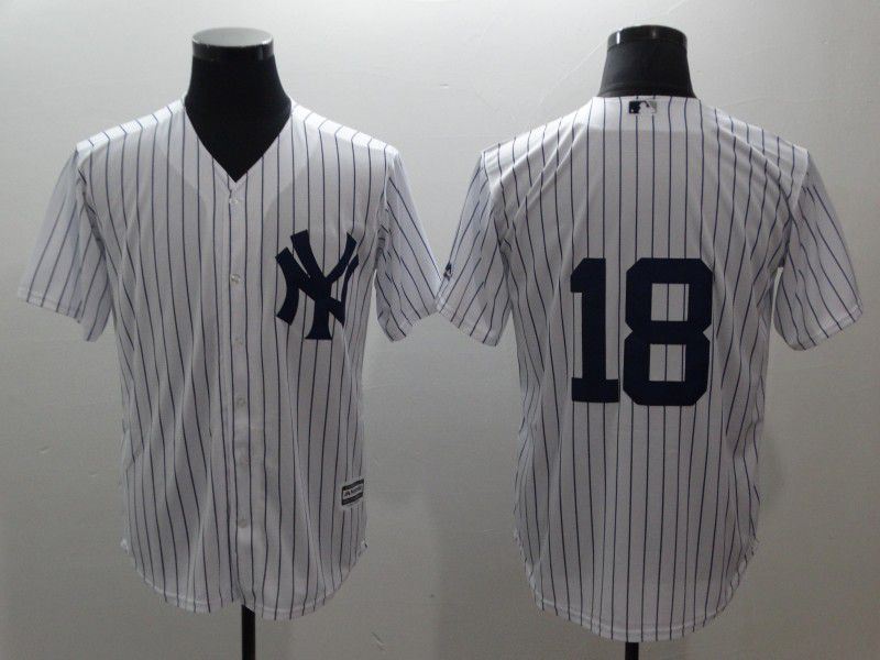 Men New York Yankees 18 Gregorius White stripes Game MLB Jerseys