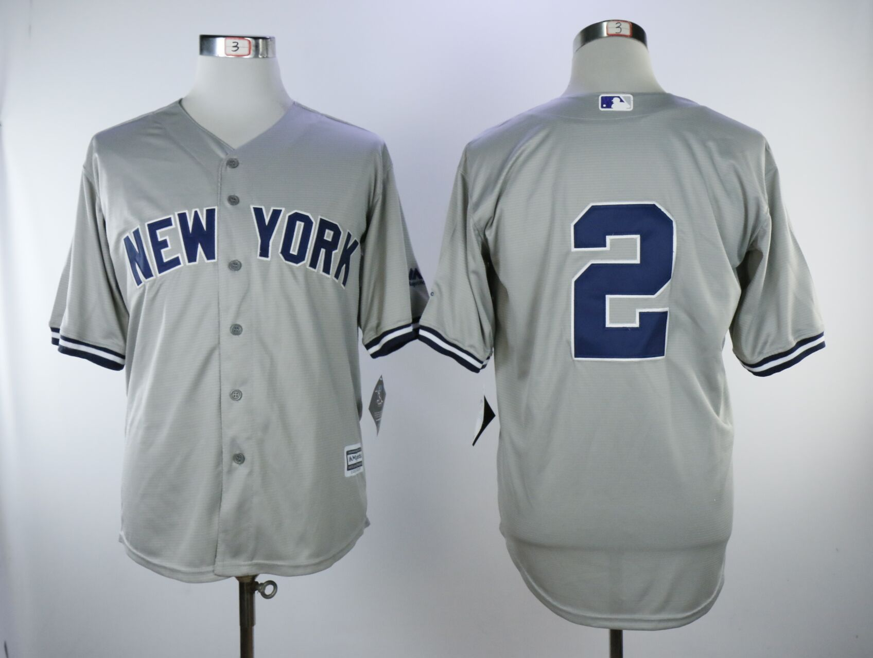 Men New York Yankees 2 Jeter Grey Game MLB Jerseys