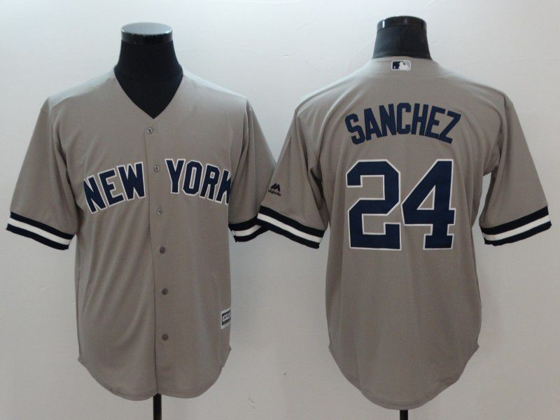 Men New York Yankees 24 Sanchez Grey Game MLB Jerseys