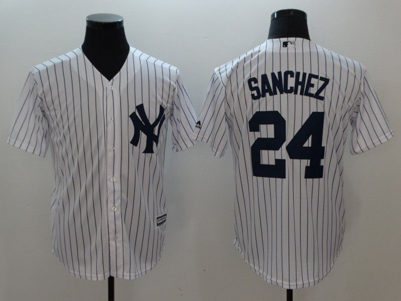 Men New York Yankees 24 Sanchez White stripes Game MLB Jerseys