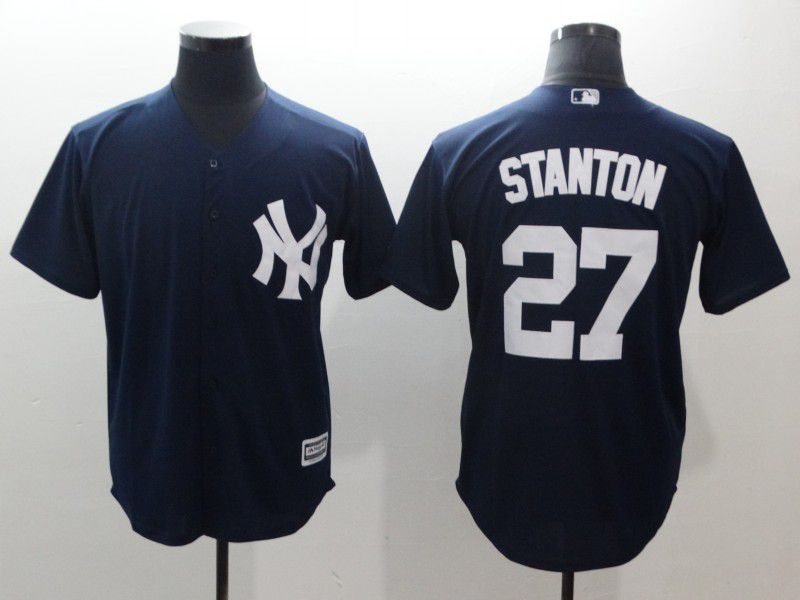 Men New York Yankees 27 Stanton Blue Game MLB Jerseys