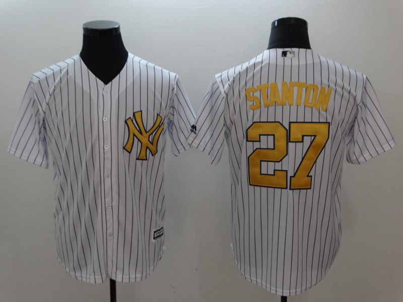 Men New York Yankees 27 Stanton White striped gold Game MLB Jerseys
