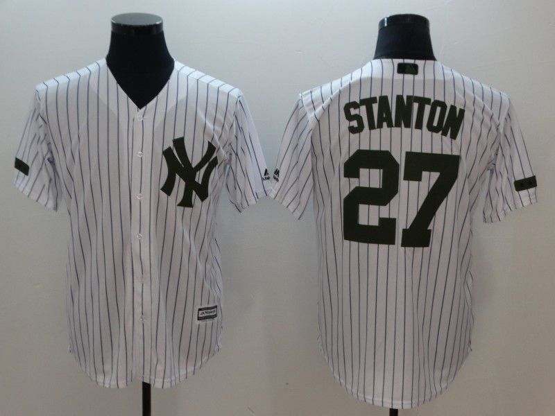 Men New York Yankees 27 Stanton White stripes Game MLB Jerseys