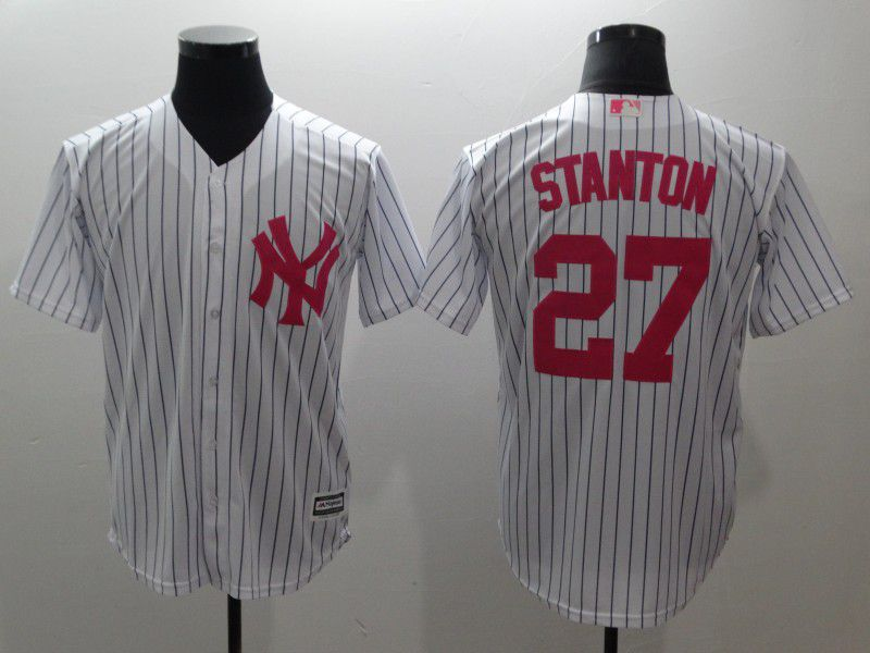 Men New York Yankees 27 Stanton White stripes red Game MLB Jerseys