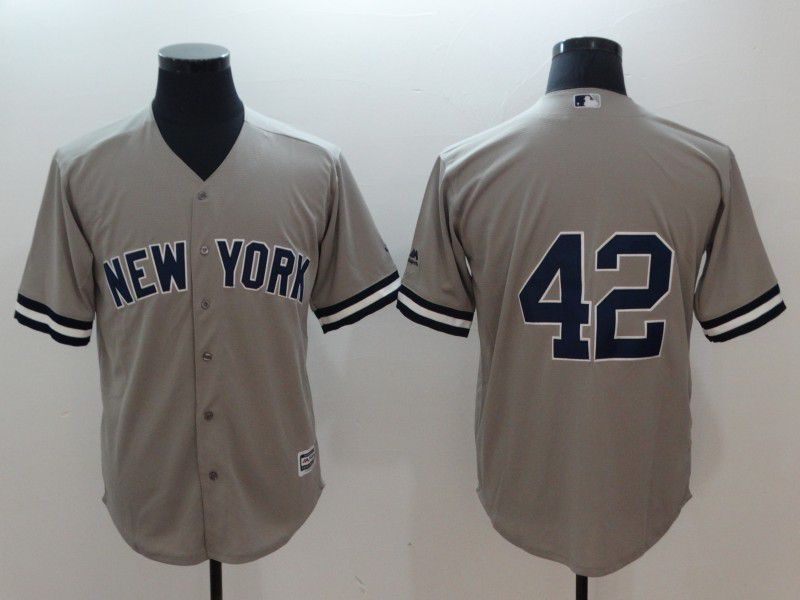 Men New York Yankees 42 Rivera Grey Game MLB Jerseys