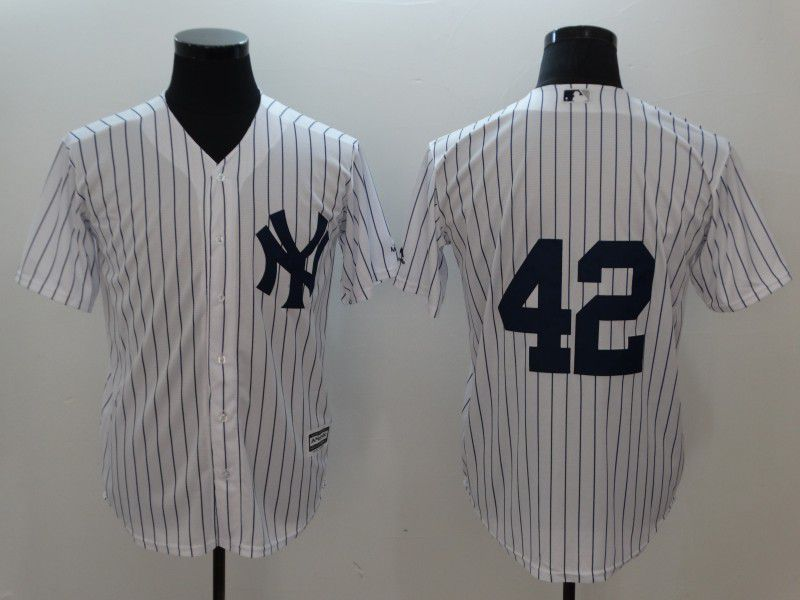 Men New York Yankees 42 Rivera White stripes Game MLB Jerseys
