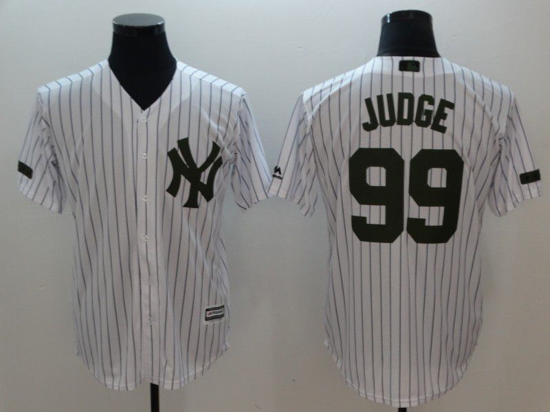 Men New York Yankees 99 Judge White stripes Game MLB Jerseys