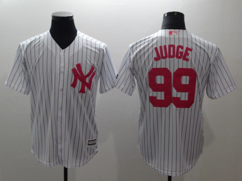 Men New York Yankees 99 Judge White stripes red Game MLB Jerseys