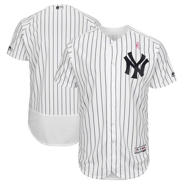 Men New York Yankees Blank White Mothers Edition MLB Jerseys
