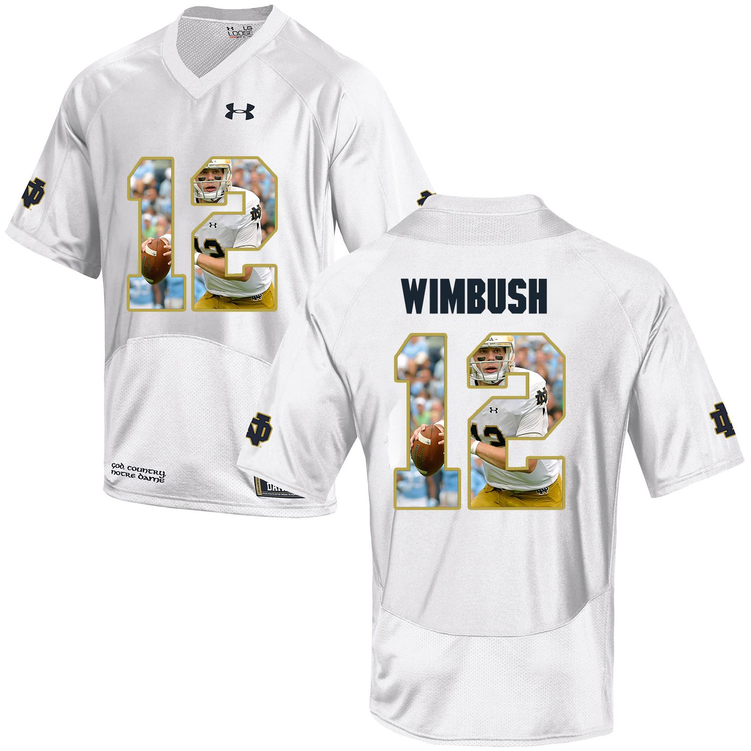 Men Norte Dame Fighting Irish 12 Wimbush White Fashion Edition Customized NCAA Jerseys