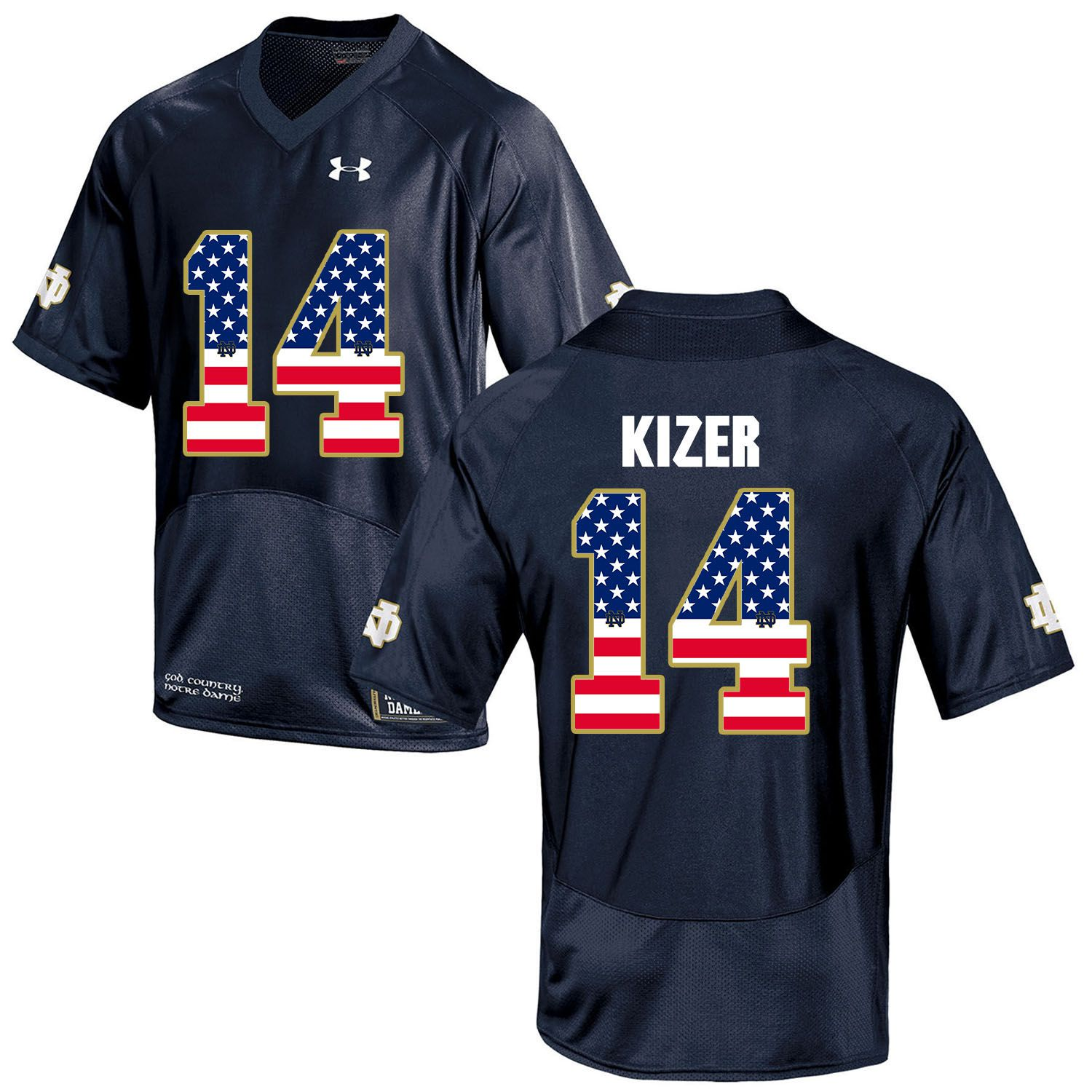 Men Norte Dame Fighting Irish 14 Kizer Navy Blue Flag Customized NCAA Jerseys