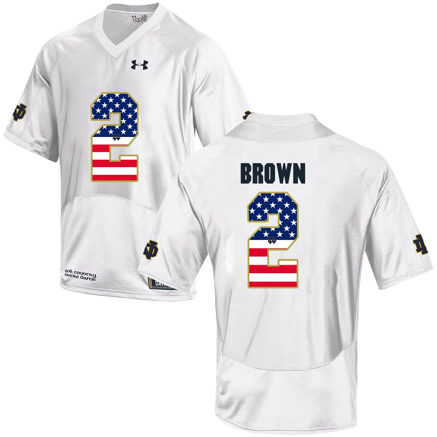 Men Norte Dame Fighting Irish 2 Brown White Flag Customized NCAA Jerseys