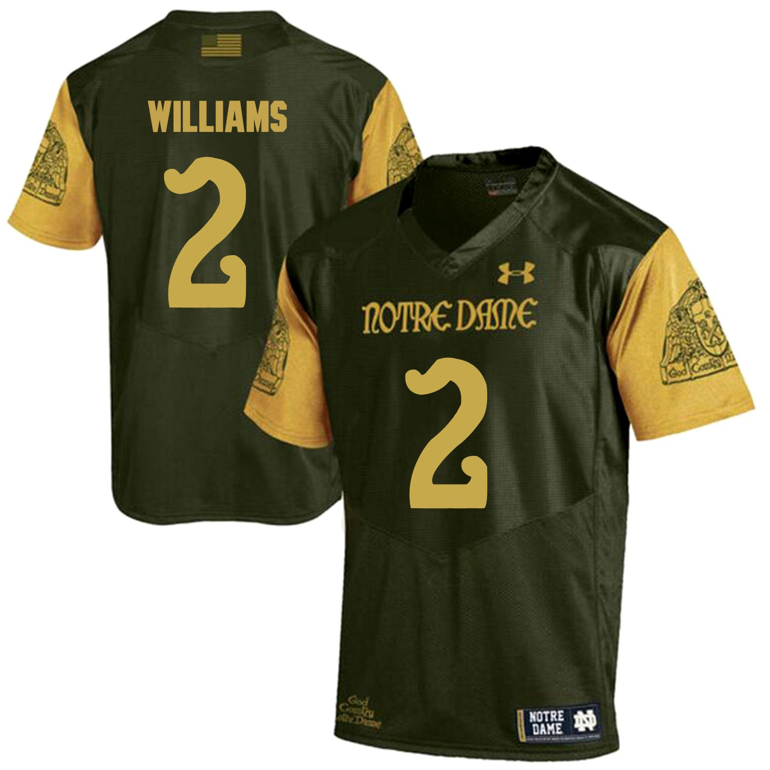 Men Norte Dame Fighting Irish 2 Williams Green Customized NCAA Jerseys