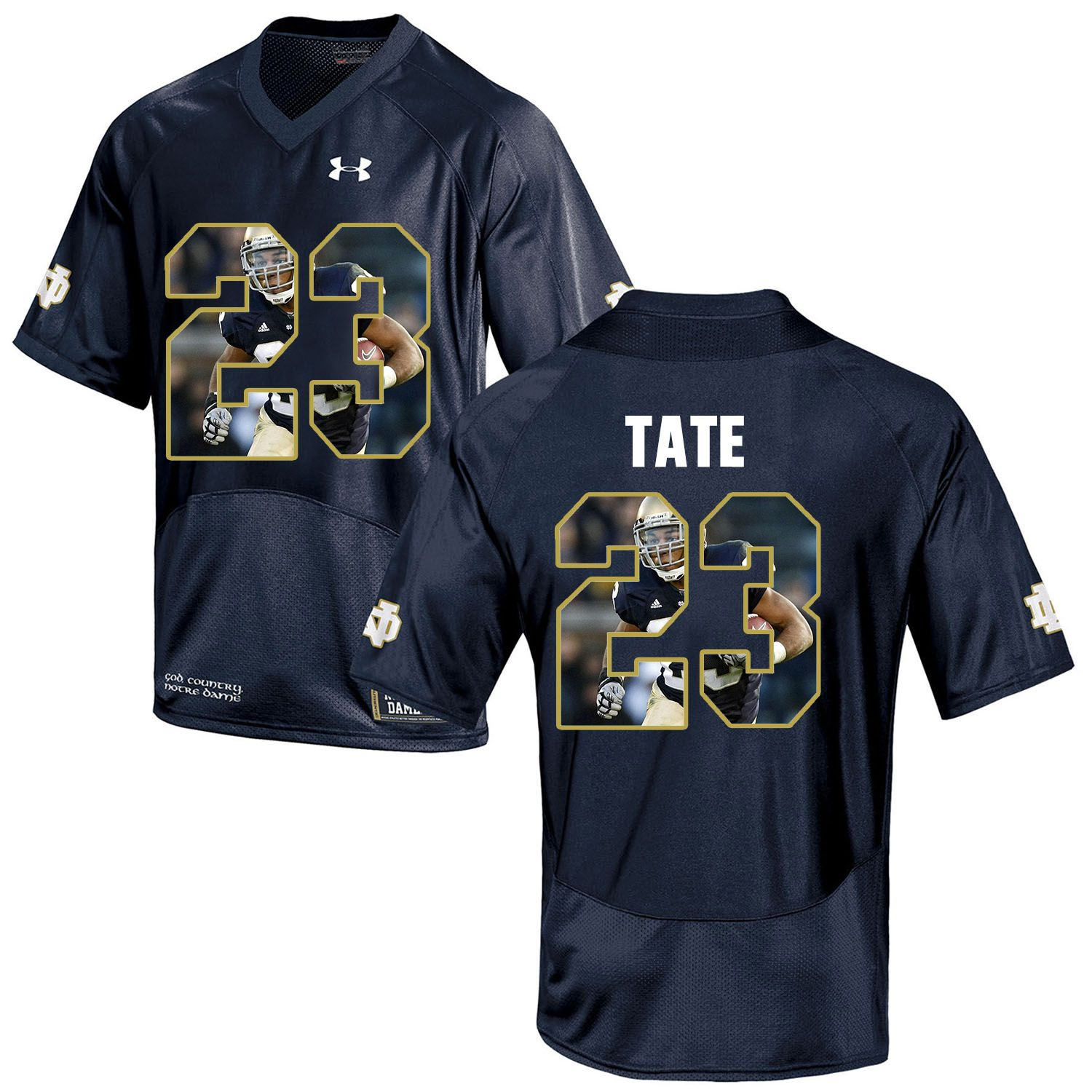 Men Norte Dame Fighting Irish 23 Tate Navy Blue Fashion Edition Customized NCAA Jerseys