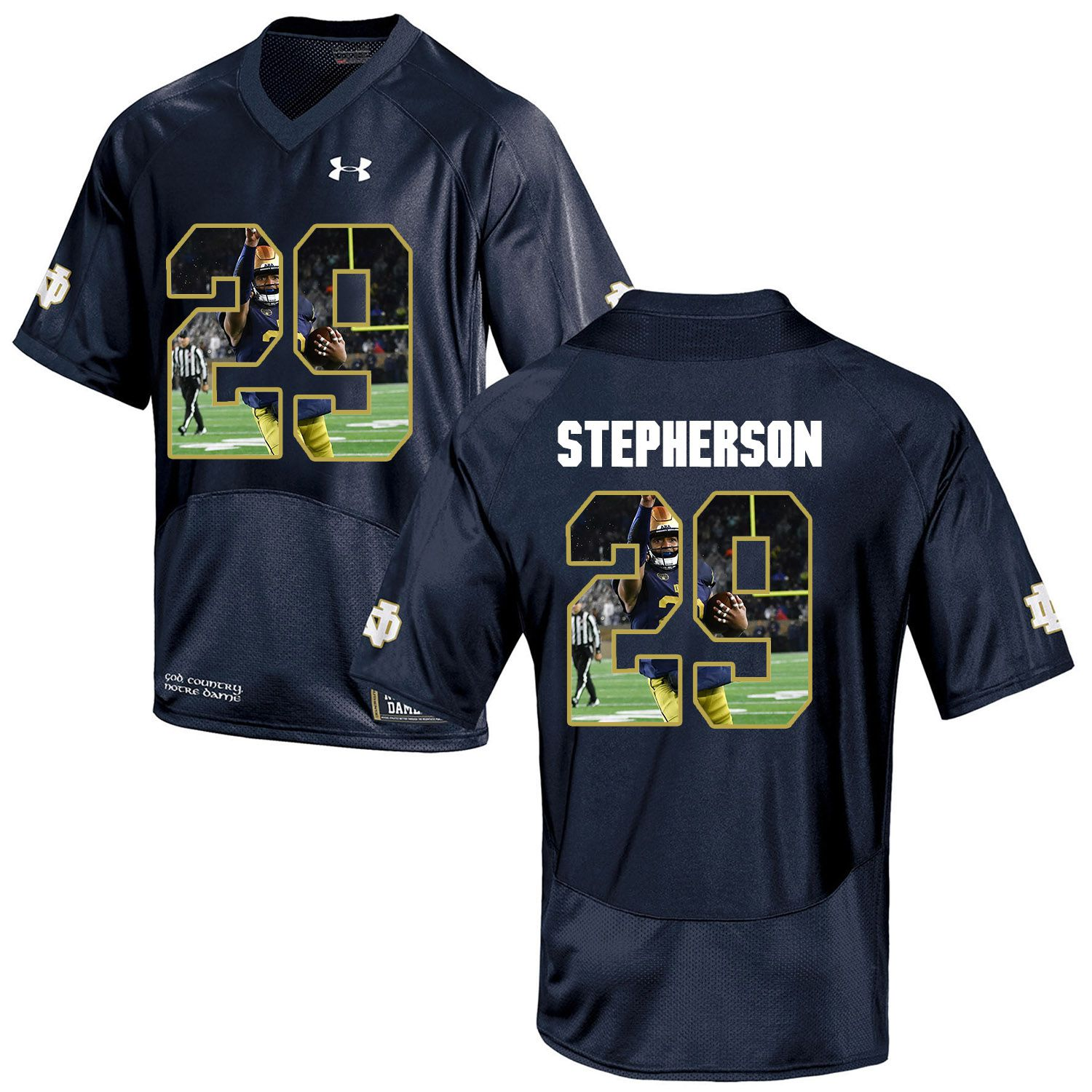 Men Norte Dame Fighting Irish 29 Stepherson Navy Blue Fashion Edition Customized NCAA Jerseys